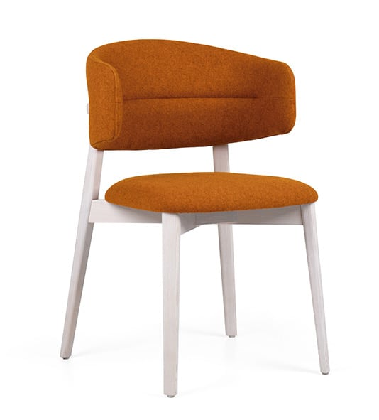 DESIGN CHAIR WITH ORANGE UPHOLSTERY